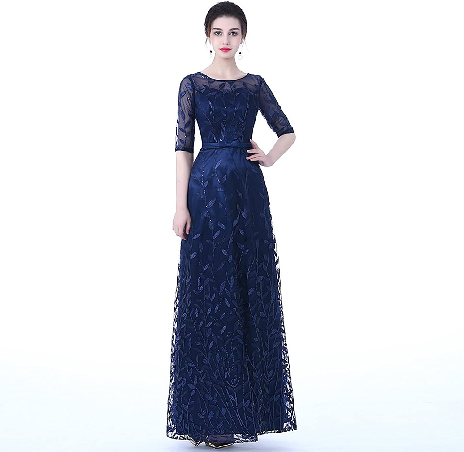 DongCMY 2018 New Burgundy Lace Embroidery Luxury Satin Half Sleeved Long Evening Dress Elegant Gown