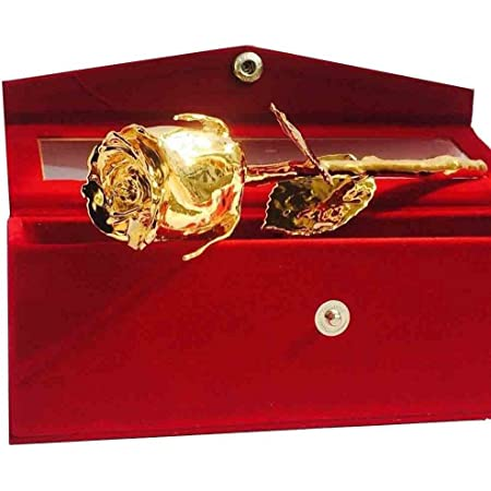 MSA JEWELS Artificial Certified Gold Plated Rose And Box with Pot (Golden, 1 Piece).