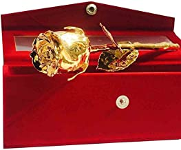 MSA JEWELS Certified Gold Plated Rose with Velvet Box for Loved Ones (24K, 15 cm)