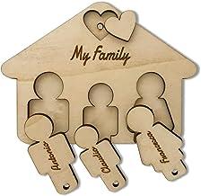 Portachiavi in legno personalizzato con Casetta a parete idea regalo famiglia
