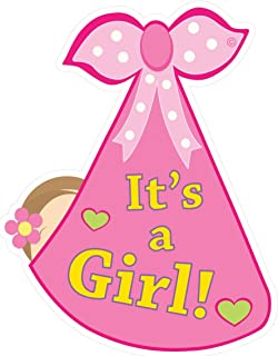 Cute News It's a Girl Baby Door Sign - Welcome Stork Birth Announcement Hanger - Hospital Newborn Wreath - Shower Decoration - Gender Reveal - Pink
