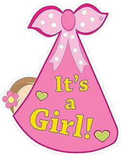 Cute News It's a Girl Baby Door Sign - Welcome Stork Birth Announcement Hanger - Hospital Newborn Wreath - Shower Art Decoration - Gender Reveal - Pink