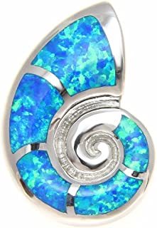 925 Sterling Silver Hawaiian Nautilus Shell Blue Synthetic Opal Slider Pendant