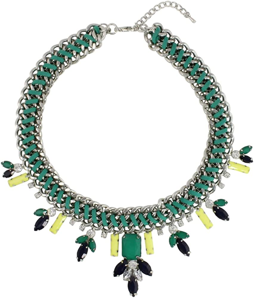 Heirloom Finds Mixed Media Green Neon Crystal Suede Chain Collar Necklace