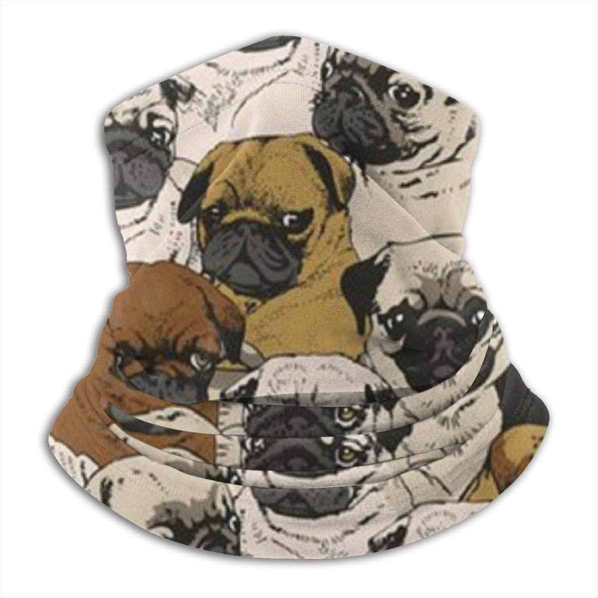 CLERO& Scarf Fleece Neck Warmer Pug Pattern Funny Pugs Dogs Windproof Winter Neck Gaiter Cold Weather Face Mask for Men Women