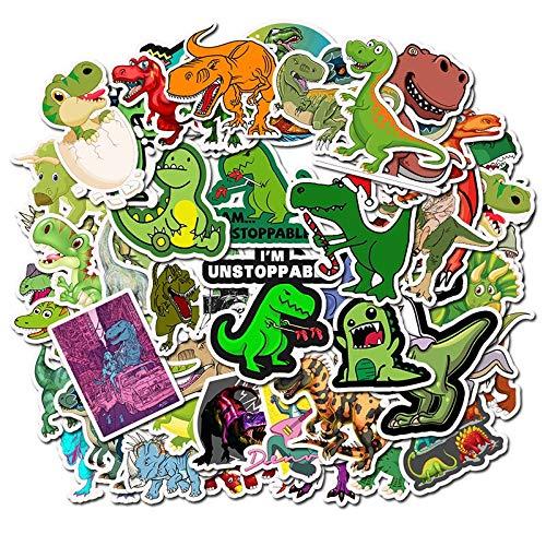 WYDML Pegatina híbrida de Dinosaurio de Dibujos Animados, portátil, monopatín, Bicicleta, Motocicleta, DIY, Impermeable, Pegatina de Juguete para niños, 50 Uds.