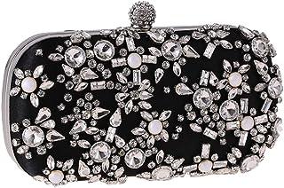 FengheYQ Women's Hand Rhinestone Rhinestone Evening Bag Fashion Wild Dress Banquet Small Square Bag Chain Shoulder Bag Clutch Bag Size: 18.5 * 5 * 10cm (Color : Black)