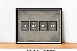 HACKER Periodic Table of Elements IT Office Decor Prints - 8 x 10 Unframed Print - Great Gift for Computer Hackers, Geeks, Scientists, Techies. Home Office Wall Art - Mancave, Den Artwork