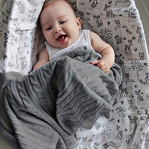 MYTZ Extra Soft bébé Couverture tricotée Double Couche 80 x 100cm pour Nouveau-né Baby Gifts Pram/Voyage/Couffin,Gris