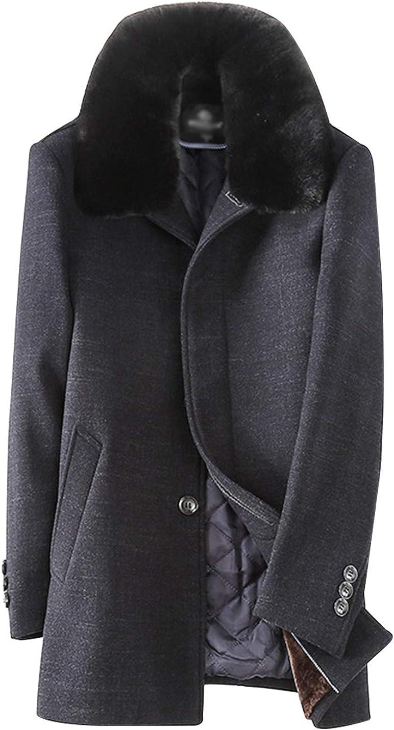 Gihuo Men's Warm Single Breasted Fleece liined Coat Padded Overcoat