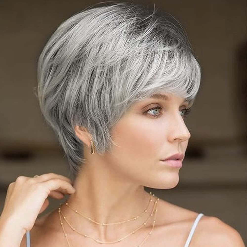 Women's Short Layered Gray Wig with Cosplay OFFicial Roots Shipping included Synthetic Dark