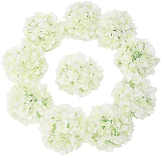 LUSHIDI Silk Hydrangea Heads with Stems Artificial Flowers Heads for Home Wedding Decor(Off White 20PCS)