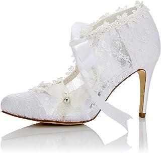 JIA JIA 16798 Women's Bridal Shoes Closed Toe High Heel Lace Satin Pumps Pearl Bowknot Ribbon Tie Wedding Shoes