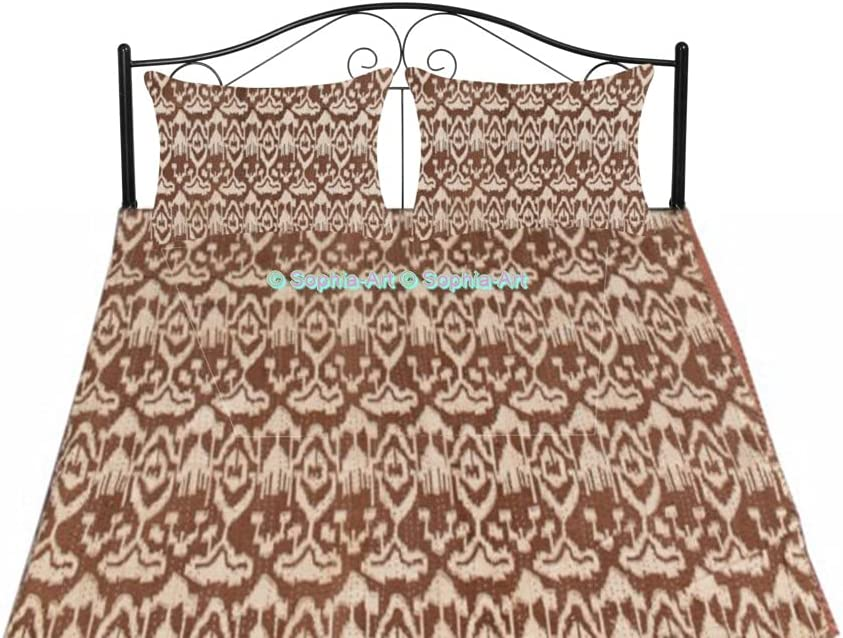Traditional Manufacturer regenerated product 5 ☆ very popular Indian Ikat Print Vintage Handmade Bedd Kantha Quilt