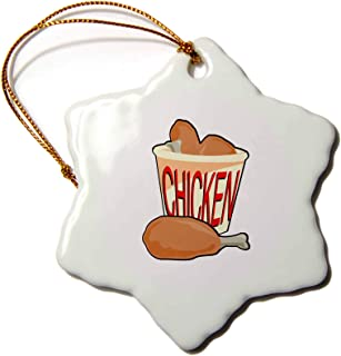 3dRose orn_150099_1 Bucket of Fried Chicken Food Design Snowflake Porcelain Ornament, 3-Inch