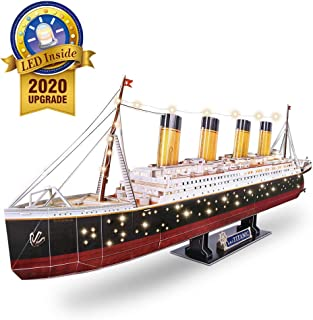 CubicFun 3D Puzzles for Adults RMS Titanic Toys Model Ship 34.6'', Difficult Watercraft Jigsaw Family Puzzles and Cruise Ship Room Decor Gifts for Men and Women, 266 Pieces(Large with LEDs)