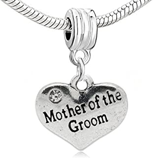 SEXY SPARKLES Wedding Groom Heart w/Rhinestones Charm for European Snake Chain Bracelets Choose from Sister of The Groom, Aunt of The Groom, Mother of The Groom, Father of The Groom or Groom