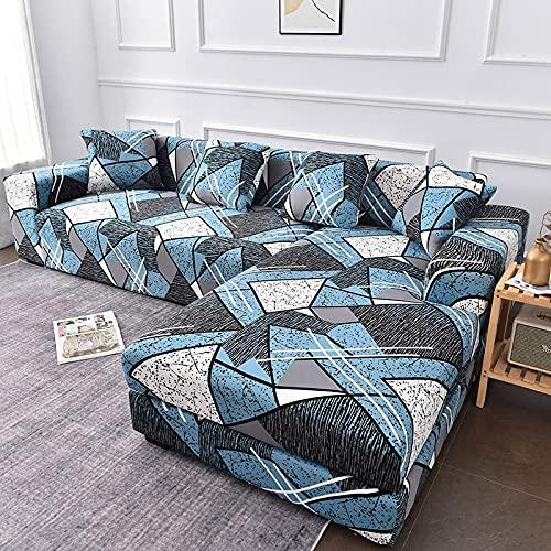 WXQY Funda para sofá de Esquina Funda para sillón de salón Funda para sofá elástica Chaise Longue Funda para sofá Antideslizante con Todo Incluido A1 4 plazas