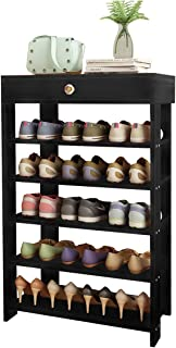 DL furniture-6 Layer Wooden Plywood Material Shoe Rack. top Drawer and countertop Store Keys and Wallets.15 Pairs of Adult Shoes are Compatible. Maximum Load is Over 150 pounds. (Black Walnut Wood)