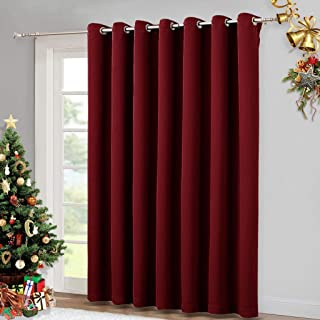 NICETOWN Blackout Blinds for Sliding Door - Indoor Slider Curtains for Patio, Wide Width Drapes for Christmas Living Room (Burgundy Red, 100 inches Wide x84 Long)