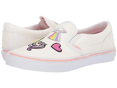 Vans Kids Classic Slip-On (Little Kid/Big Kid) ((Unicorn Alien) Glitter/True White) Girls Shoes