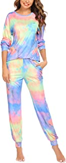 Ekouaer Women's Tie Dye Pajamas Set Long Sleeve Tops and Pants PJ Sets Two Piece Sleepwear Casual Lounge Nightwear S-XXL