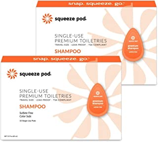 Squeeze Pod Travel Shampoo - 20 Single Use Pods – Sulfate Free Natural Ingredients, Leak Proof, TSA Approved Travel Size Toiletries - Best for Airline Traveling, Camping, Hiking & Gym Bags VS07