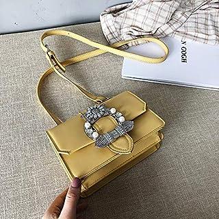 Adebie - Lady's Summer Messenger Bag 2019 New Diamond Shoulder Bag Small Handbag PU Flap Casual Women Metal Crossbody Bag Tote Bags Bolso Yellow []