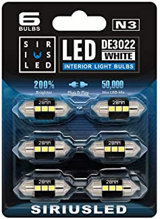 SIRIUSLED N3 DE3021 DE3022 LED bulbs Pure white Super Bright LED Festoon 300 Lumens 3030 Chipset for Car Truck Interiors D...