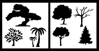 Auto Vynamics - STENCIL-TREESET01-10 - Detailed Tree / Trees Stencil Set - Includes Multiple Designs From Oak To Palm! - 10-by-10-inch Sheets - (2) Piece Kit - Pair of Sheets