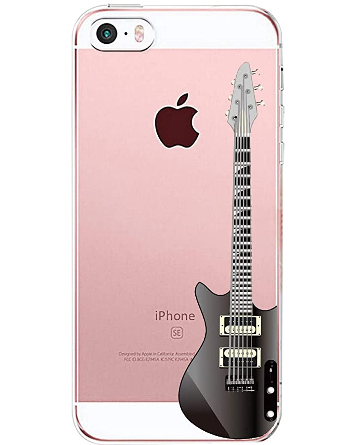 iPhone 5 5s SE Case, Alsoar Slim Fit Clear Soft TPU Cute Cartoon Funny Animal Pattern Case Anti Scratch Transparent Protection Shockproof Cover Cases for iPhone 5 5s SE (Guitar)