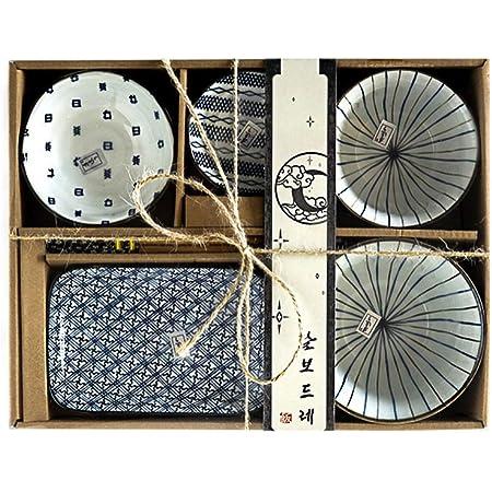 Watenkliy Service de table à sushi japonais en porcelaine 6 pièces (style 4)