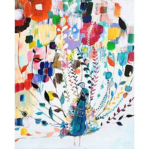 Pintar por Numeros para Adultos Pavo Real Animal Abstracto Kit de pintura al óleo para bricolaje con Pinceles y Pinturas Decoraciones para el Hogar (Sin Marco) 40x50 cm