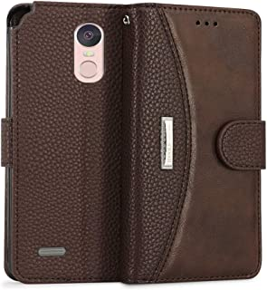 IDOOLS for LG Stylo 3,LG Stylo 3 Plus Leather Wallet Phone Cases,Folding Flip Cases Protective Cover Strong Magnetic Closure Protector with Card Slots Kickstand - Brown