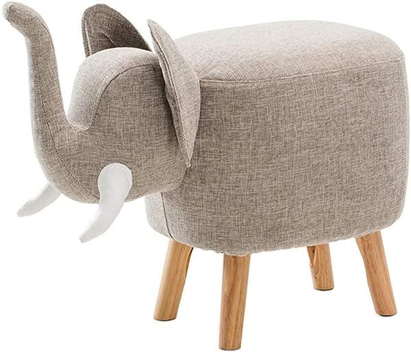 Footstool Solid Wood Stool Fabric Stool Pouffe Footstool Cushion 4 Legs Bearing 100kg 71 5 33 41cm Length Width Height Gray