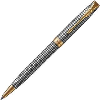 PARKER Sonnet Ballpoint Pen, Prestige Chiselled Silver with Gold Trim, Medium Point Black Ink