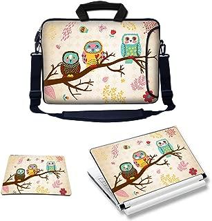Meffort Inc Laptop Bundle Deal - Includes Neoprene Laptop Bag with Side Pocket Adjust Shoulder Strap with Matching Skin Sticker Decal & Mouse Pad (15.6 Inch, Three Owls)