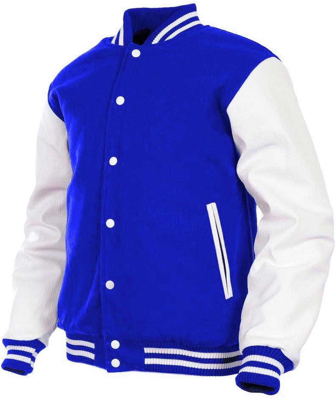GENZ Mens Women Varsity Jacket Faux Leather Sleeve Wool Blend Letterman College Varsity Jackets bluee