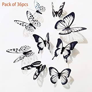 Eanpet Halloween Decoration Wall Sticker DIY Wall Decal Self Adhesive Window Door Home Decor for Party Store Restaurant Hotel Supermarket (3D White and Black Butterfly 36pcs)