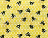 Stoff mit Bienen- und Wabenmuster, 110 cm, 100 % Baumwolle,