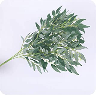 Tamia-Romtic 5 Branches Artificial Willow Silk Fake Leaves Green Faux Foliage Home Wedding Decoration Plant Jungle Party arrangment,Green