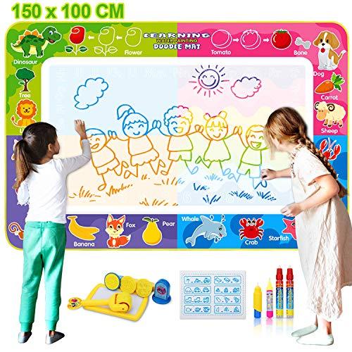 Fivejoy Tappeto Doodle Grande 150×100cm, Doodle Tappetino da Disegno Magico, Disegno Magico Aqua Mat, Acqua Tappeto, Bonus con 4 Penne Magiche, Timbri E Set di Rulli, Bambini