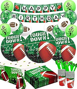 Superbowl Party Decorations 2021-Football Birthday Party Decorations,32pcs Football Plates  20pcs Football Balloons,Football Banner and Tablecloth for Football Touchdown Game Day Accessory
