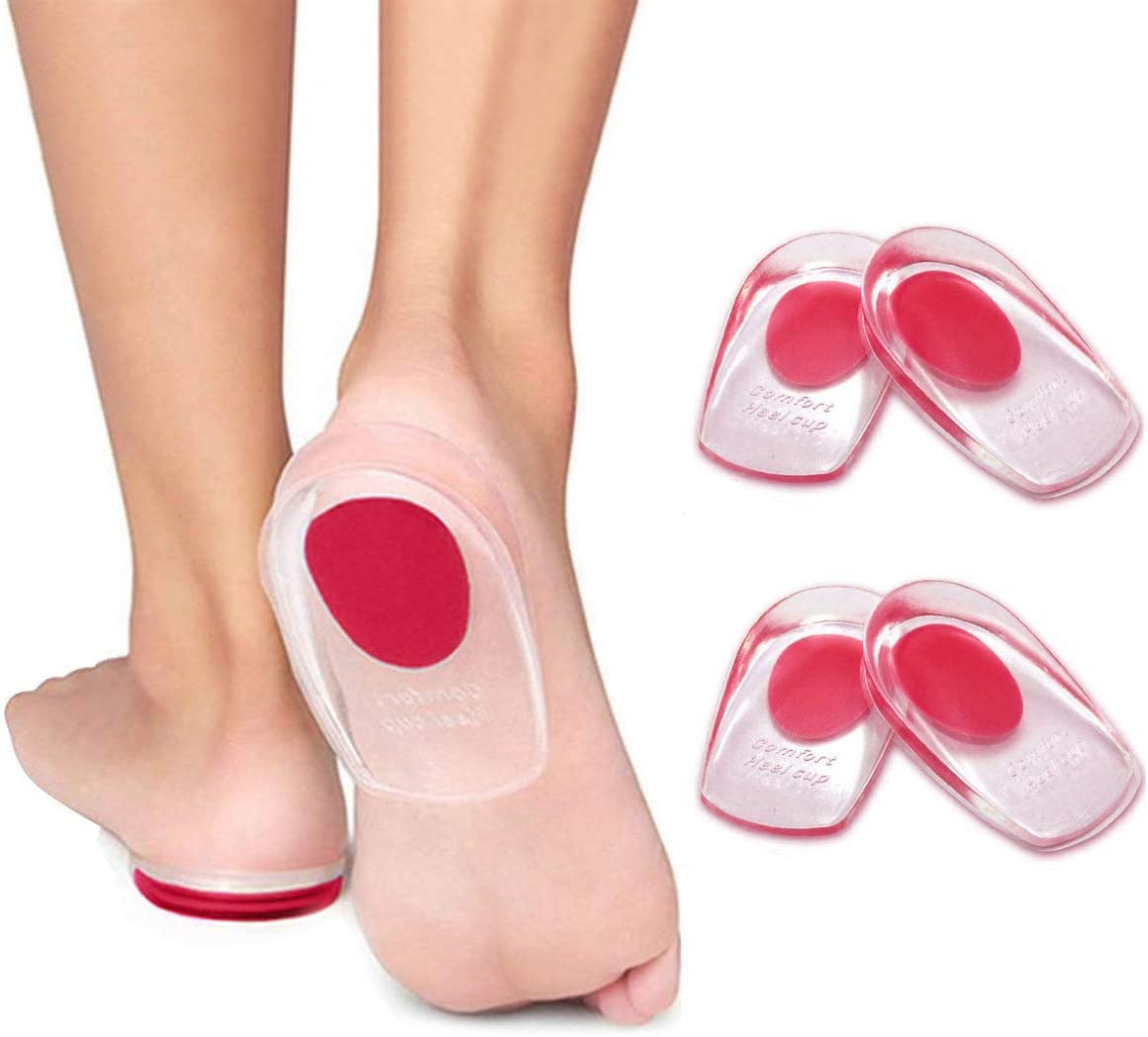 2 Pairs Popular standard Gel Heel Cups P Inserts Plantar Fasciitis Silicone 1 year warranty