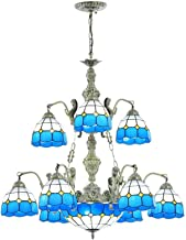Multi-Head Pastoral Blue Mediterranean Chandelier Tiffany Style Retro Stained Glass Hanging Pendant Lamp for Living Room B...