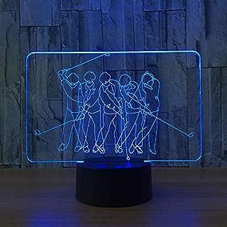 Lámpara de ilusión óptica modelo de golf Lámpara LED 3D Lámpara de atmósfera acrílica de luz nocturna Lámpara moderna de 7 colores