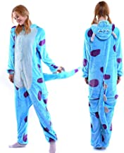 MGOGO Adult Kigurumi Pajamas-Unisex Sulley Onesie Halloween Animal Costume Winter Sleeping Wear Cosplay