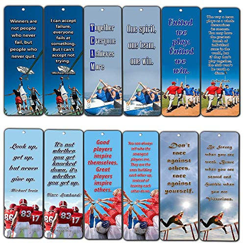 NewEights Sports Inspirational Quotes Bookmark Set (12-Pack) - Teamwork Team Building Success Quotes - Sports Gifts Stocking Stuffers