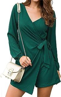 Kasamysoul Plus Size Jumpsuits for Women Tie Waist Long Sleeve Jumpsuits Dresses for Women Casual