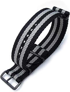 Cinturino MiLTAT 22mm o 24mm G10 Cinturino orologio militare Cinturino in nylon balistico, PVD - Strisce nere e grigie